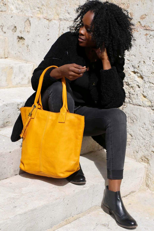 sac cabas cuir jaune, cuir vieilli vintage