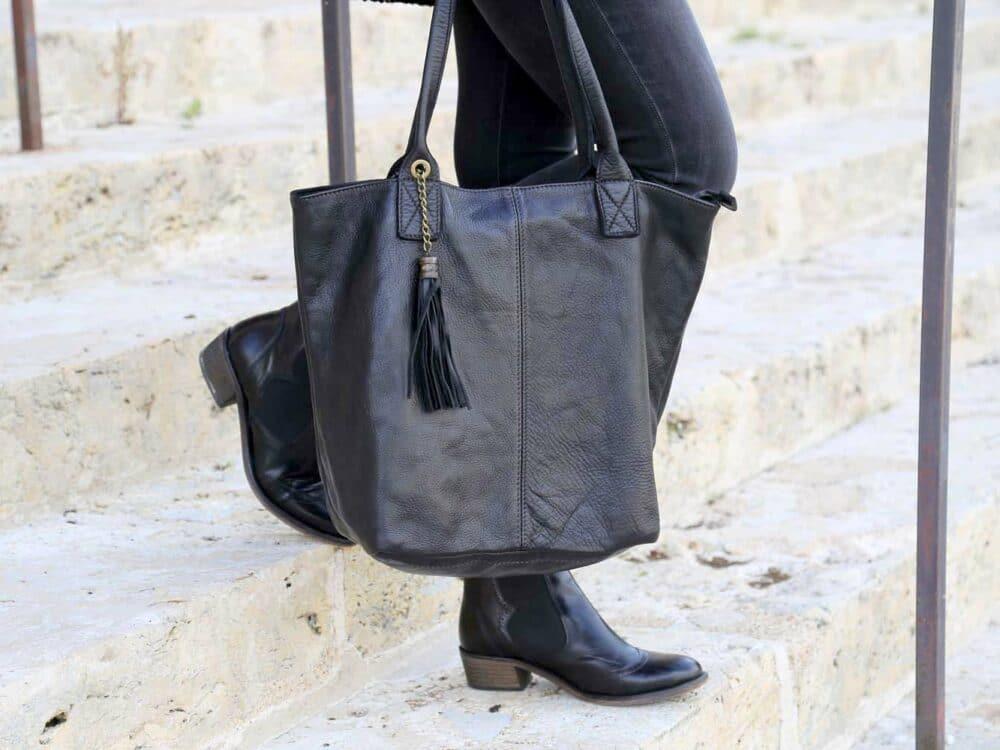 sac cabas cuir noir, cuir vieilli vintage