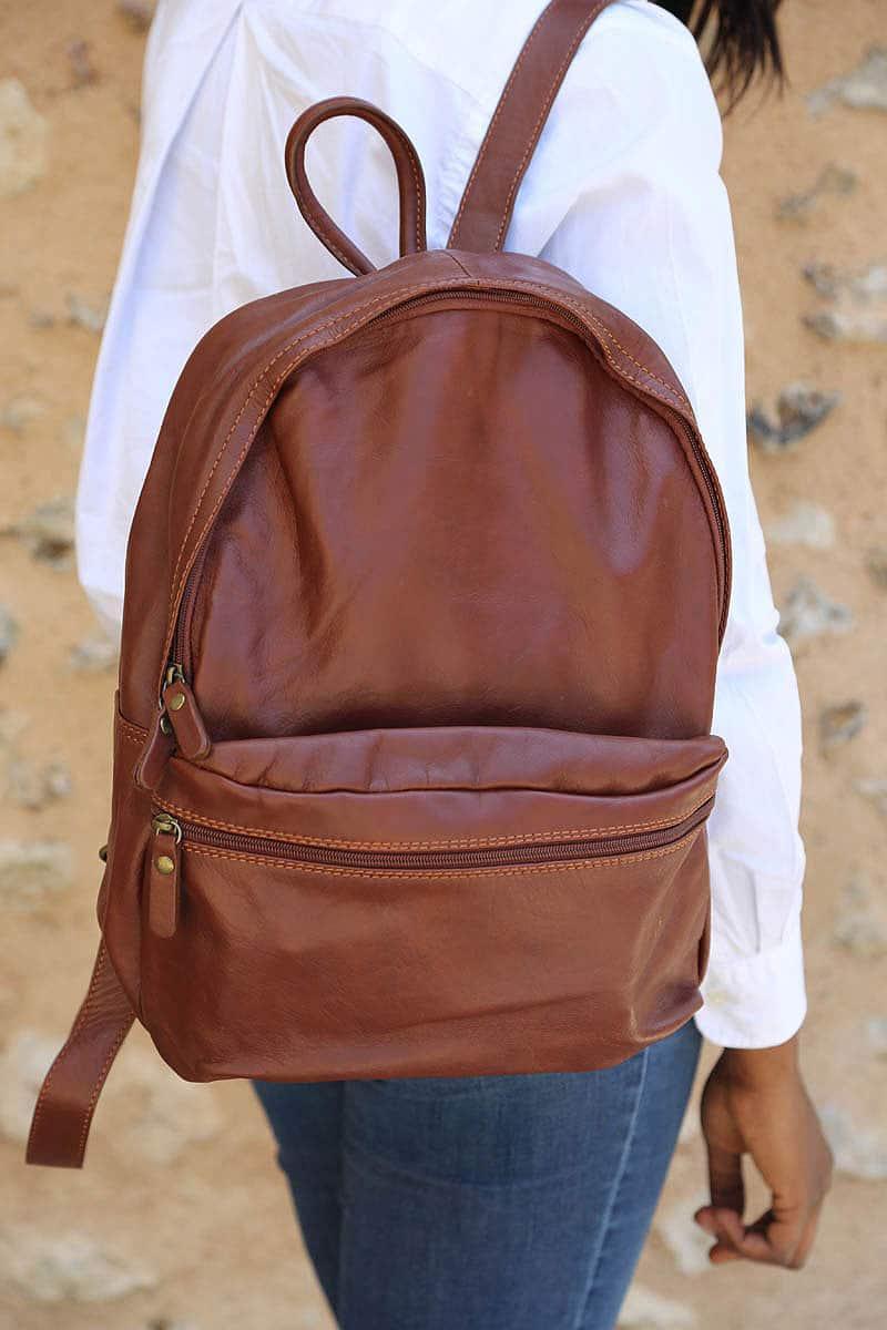 Pour les cours : sac à dos en cuir ELIAS   Saheline
