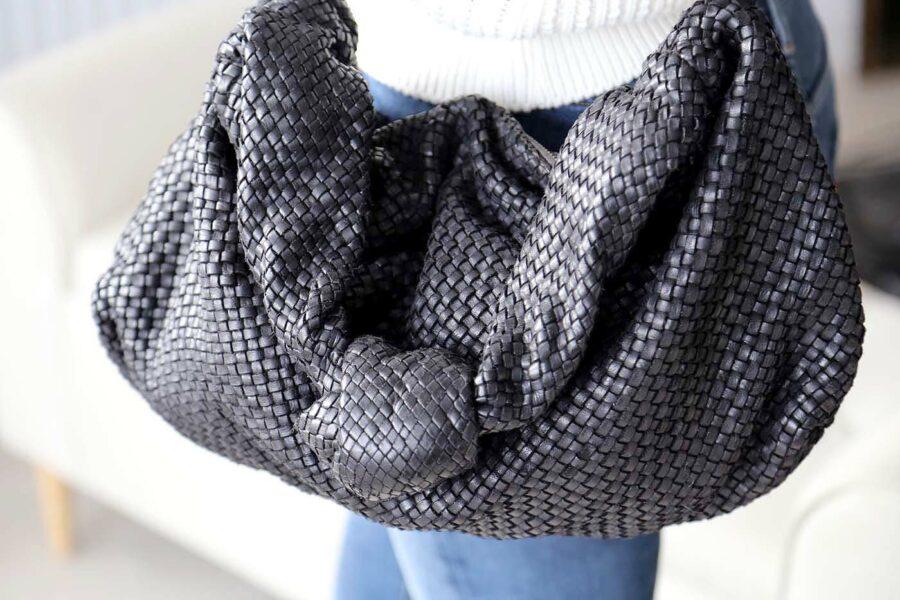 sac-main-cuir-noir-tresse-avec-noeud